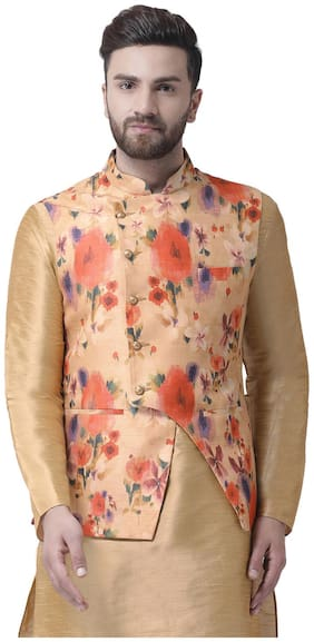 I Know Men Pink Solid Regular Fit Ethnic Jacket