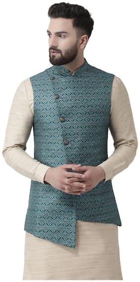 Men Printed Linen Ethnic Jacket Pack Of 1