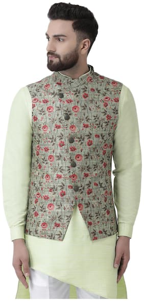 I Know Men Green Floral Regular Fit Ethnic Jacket