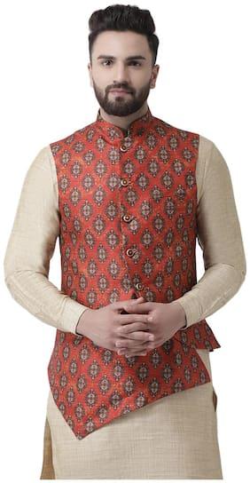I Know Men Red Printed Regular Fit Ethnic Jacket