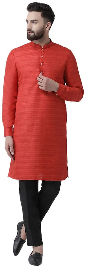 I Know Men Red Regular Fit Kurta