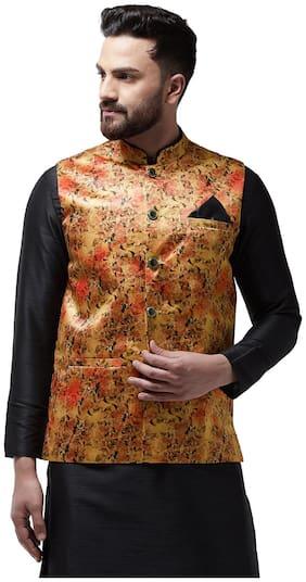 I Know Men Gold Solid Regular Fit Ethnic Jacket