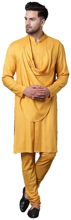 I Know Stylish Shawl Neck Mustard Men's Kurta Only