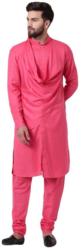 I Know Stylish Shawl Neck Pink Men's Kurta with Pink Churidar