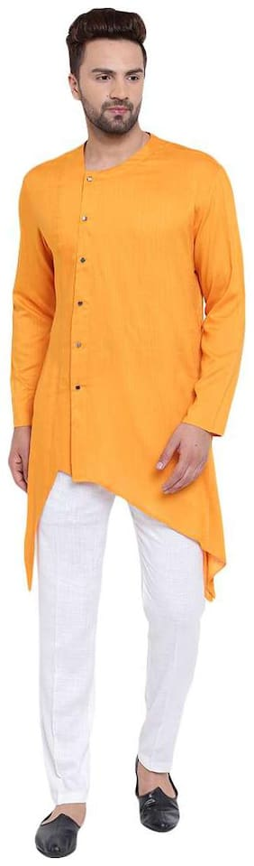 I Know Swanky Collarless Asymmetric Mustard Men's Kurta