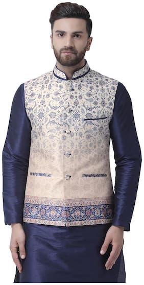 I Know Men Cream Solid Regular Fit Ethnic Jacket