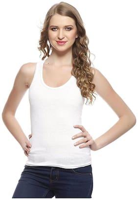 I Shop Women White Regular fit Round neck Cotton Tank top