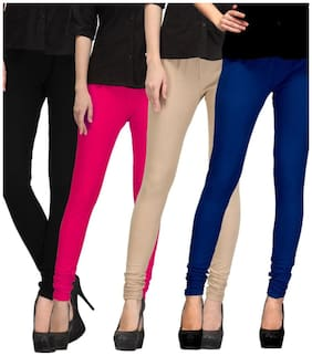 I Shop Girls & Women's Black-PInk-Skin-Blue Cotton Lycra Legging's Combo-04