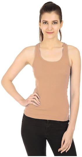 I Shop Girls & Women's Beige/Skin Cotton Lycra Tank Top Spaghetti Pack of 1 Offer
