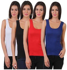 I Shop Girls & Women's White Black Red & Blue Cotton Lycra Tank Top Spaghetti Pack of 4 Offer