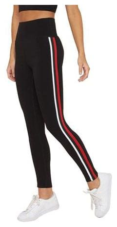 I Shop Girls & Women's Stripe Tights for Yoga, Gym and Active Sports Fitness (Black with Red|White Stripes)