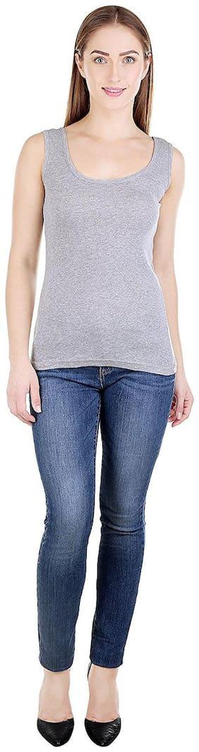i-shop Women Grey Regular fit U neck Cotton Tank top