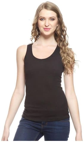 I Shop Women Black Regular fit Round neck Cotton Tank top