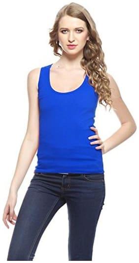 I Shop Girls & Women Blue Cotton Lycra Spaghetti Tank Top