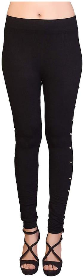 I Shop Women Regular fit Mid rise Solid Jegging & Jeans - Black