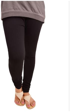 I Shop 'V' Cut Ruby Gold Pattern Girls & Woman's Black Free Size Legging