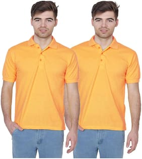 IDOLESHOP SOLID MEN'S POLO NECK YELLOW T-SHIRT (PACK OF 2)