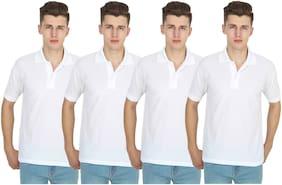 iDOLESHOP Men White Regular fit Cotton Polo collar T-Shirt - Pack Of 1