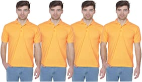 IDOLESHOP SOLID MEN'S POLO NECK YELLOW T-SHIRT (PACK OF 4)
