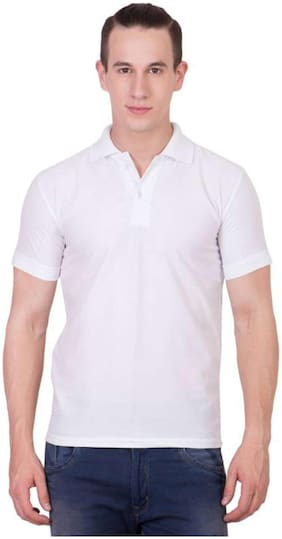 IDOLESHOP SOLID MEN'S POLO NECK WHITE  T-SHIRT (PACK OF 1)