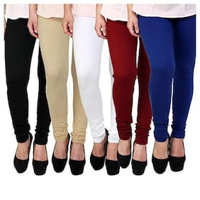 Cotton Solid Leggings Pack of 5
