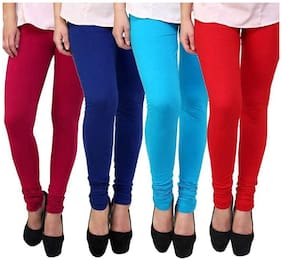 Cotton Solid Leggings Pack of 4