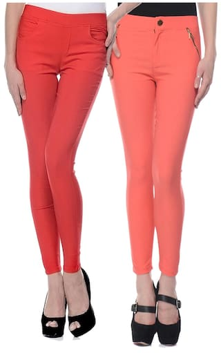 iHeart Pink And Red Cotton Slim Fit Jeggings Pack of 2
