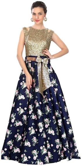 Imperialdeal Gold Color Embroidered Broket Fancy Designer Dress