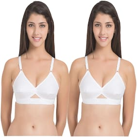 In Beauty Cotton Solid White Bras