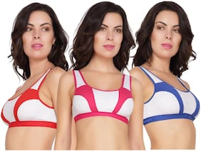 In Beauty Solid Cotton Non-Padded Sports Bra For Women