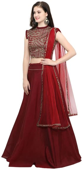 b2560ae4bf Inddus Beige Banarasi Cotton Woven Top With Maroon Banarasi Cotton Woven  Flared Lehenga Choli With Maroon