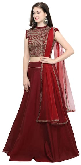 Inddus Beige Banarasi Cotton Woven Top With Maroon Banarasi Cotton Woven Flared Lehenga Choli With Maroon Net Dupatta