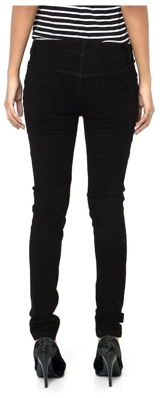 Jeans Fit Velvet Denim Stretchable Slim Black Dobby Inddus wp07ax