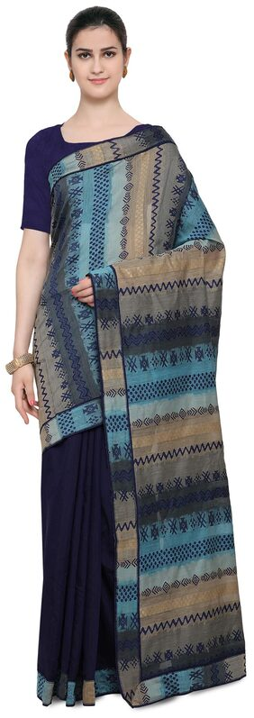 Inddus Blue  Chanderi Cotton Half & Half Saree