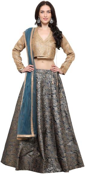 7f76e74c75 Inddus Turquoise Banarasi Art Silk Woven Lehenga styled with Turquoise Net  Dupatta