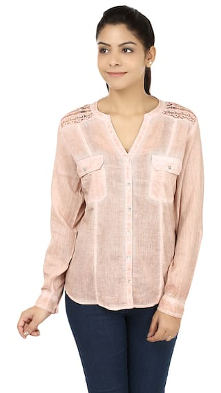 India Inc Pink Cotton Shirt