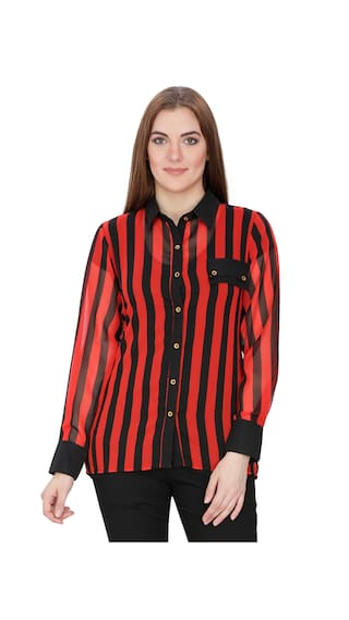 INDIA INC Red Georgette Shirt