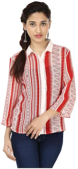 India Inc Red Polyester And Georgette Shirt