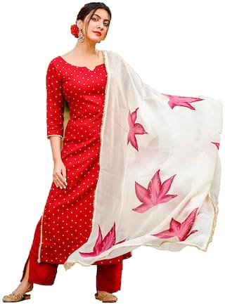Indian Beauty Women Red Polka Dots Regular Kurta With Pants And Dupatta