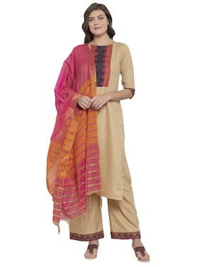 Indian Beauty Women Beige Printed Regular Kurta With Palazzo And Dupatta