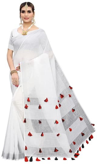 Indian Beauty Women Linen Solid Saree  White