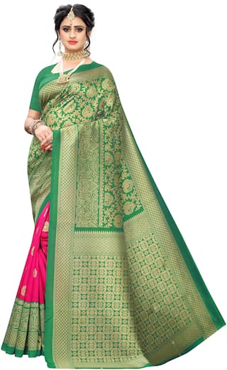 Indian Beauty Womens Multi Silk Woven Saree With Blouse