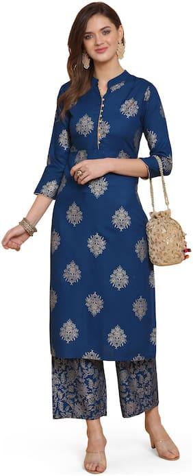 Indian Beauty Viscose Rayon Blue Foil Print Kurta Palazzo  For Women