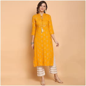 Indian Beauty  Women Viscose Rayon Foil Print Yellow Kurta  With Pants