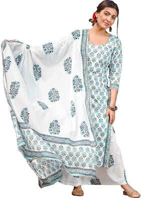 Indian Beauty Women White Floral Straight Kurta With Palazzo And Dupatta