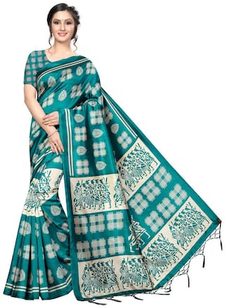 Indian Beauty  Women Blended Universal Turquoise  Saree With Blouse