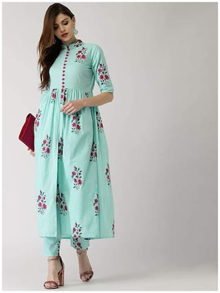 Indian Beauty Women Multi Floral Straight Kurti With Pants