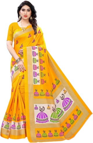 Indian Beauty Silk Printed Yellow Designer Saree Women