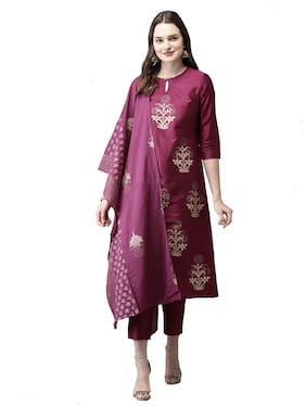 Indian Beauty Women Magenta Floral Straight Kurta With Trousers And Dupatta