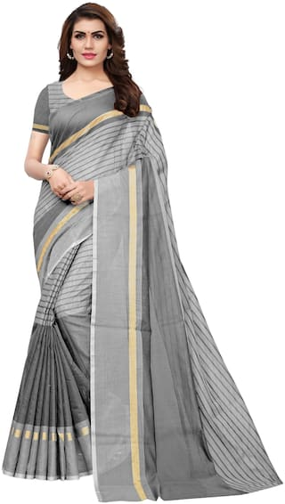 Indian Beauty Womens Grey Color Cotton Striped Saree with Blouse Piece